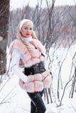 Muchacha rubia del día Nevado en un paseo en un parque del invierno Fotografía de archivo libre de regalías