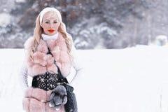 Muchacha rubia del día Nevado en un paseo en un parque del invierno Fotografía de archivo