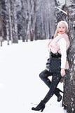 Muchacha rubia del día Nevado en un paseo en un parque del invierno Fotos de archivo libres de regalías