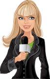 Muchacha rubia del reportero con el micrófono Imagenes de archivo