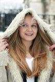 Muchacha rubia en abrigo de pieles Imágenes de archivo libres de regalías