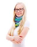 Muchacha rubia en bufanda y vidrios Fotografía de archivo libre de regalías