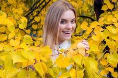 Muchacha rubia en hojas del amarillo del otoño Imagen de archivo libre de regalías