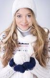 Muchacha rubia en la ropa del invierno Imagen de archivo