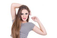 Muchacha rubia hermosa con el pelo largo Fotografía de archivo