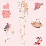 Muchacha rubia hermosa con los complementos Foto de archivo libre de regalías