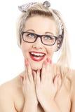 Muchacha rubia hermosa de Pin Up Imágenes de archivo libres de regalías