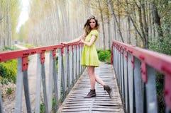 Muchacha rubia hermosa que se coloca en un puente rural Foto de archivo
