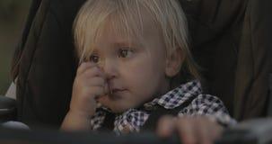 Muchacha rubia hermosa que se sienta en un carro de bebé en verano al aire libre almacen de metraje de vídeo