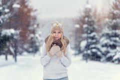 Muchacha rubia joven atractiva que camina en mujer bonita del bosque del invierno en el invierno al aire libre Ropa del invierno  Foto de archivo