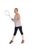 Muchacha rubia joven con su estafa de tenis Foto de archivo