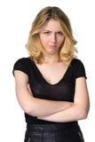 Muchacha rubia joven linda, enojada - concepto chistoso, aislado Fotos de archivo