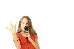 Muchacha rubia que canta Fotografía de archivo libre de regalías