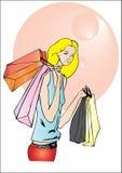 Muchacha rubia que hace compras Imagenes de archivo