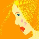 Muchacha rubia soleada en una pintura de agua Foto de archivo