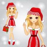Muchacha rubia vestida como Santa Claus Holding un bolso libre illustration