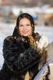Muchacha rusa en alineada nacional Foto de archivo