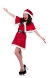 Muchacha santa de la nieve en concepto de la Navidad Fotos de archivo libres de regalías