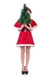 Muchacha santa de la nieve en concepto de la Navidad Fotografía de archivo libre de regalías