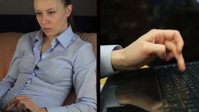 Muchacha segura que juega el teléfono móvil, sentándose en la ventana almacen de video