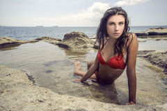 Muchacha sensual en la playa Fotografía de archivo