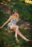 Muchacha sexual joven en vestido Imagenes de archivo