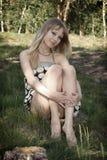 Muchacha sexual joven en vestido Imagen de archivo