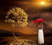 Muchacha sola con el paraguas cerca del árbol del otoño en el parque al aire libre Fotografía de archivo