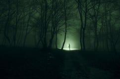 Muchacha sola con la luz en el bosque en la noche, o azul entonado imagen de archivo