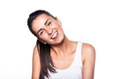 Muchacha sonriente alegre feliz en blanco Imagen de archivo libre de regalías
