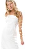 Muchacha sonriente atractiva vestida como un Griego Foto de archivo libre de regalías