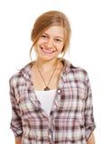 Muchacha sonriente bonita en camisa fotografía de archivo