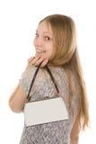 Muchacha sonriente con el bolso imagen de archivo libre de regalías