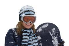 Muchacha sonriente con el snowboard. Imágenes de archivo libres de regalías