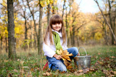 Muchacha sonriente con las hojas de arce y el compartimiento al aire libre Imágenes de archivo libres de regalías