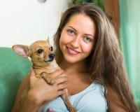 Muchacha sonriente con Russkiy Toy Terrier Foto de archivo libre de regalías
