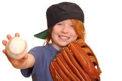 Muchacha sonriente del béisbol Foto de archivo libre de regalías