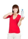Muchacha sonriente del deporte con agua Fotos de archivo libres de regalías