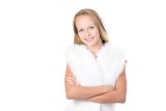 Muchacha sonriente en chaleco peludo Imagen de archivo libre de regalías