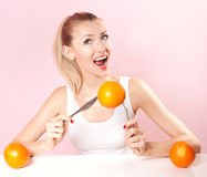 Muchacha sonriente en dieta Imagen de archivo