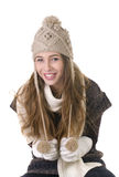 Muchacha sonriente en estilo del invierno Fotografía de archivo