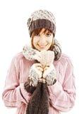 Muchacha sonriente en estilo del invierno Fotografía de archivo libre de regalías