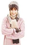Muchacha sonriente en estilo del invierno Foto de archivo libre de regalías