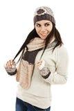 Muchacha sonriente en estilo del invierno Imagen de archivo