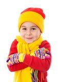 Muchacha sonriente en ropa del invierno foto de archivo