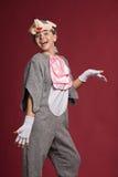 Muchacha sonriente en traje del ratón Imagen de archivo libre de regalías