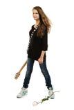 Muchacha sonriente feliz con la guitarra eléctrica Imagen de archivo libre de regalías