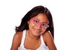 Muchacha sonriente feliz con los vidrios Imagen de archivo