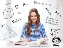 Muchacha sonriente feliz del estudiante con los libros Fotos de archivo