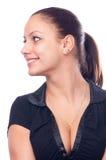 Muchacha sonriente hermosa en camiseta negra Foto de archivo libre de regalías